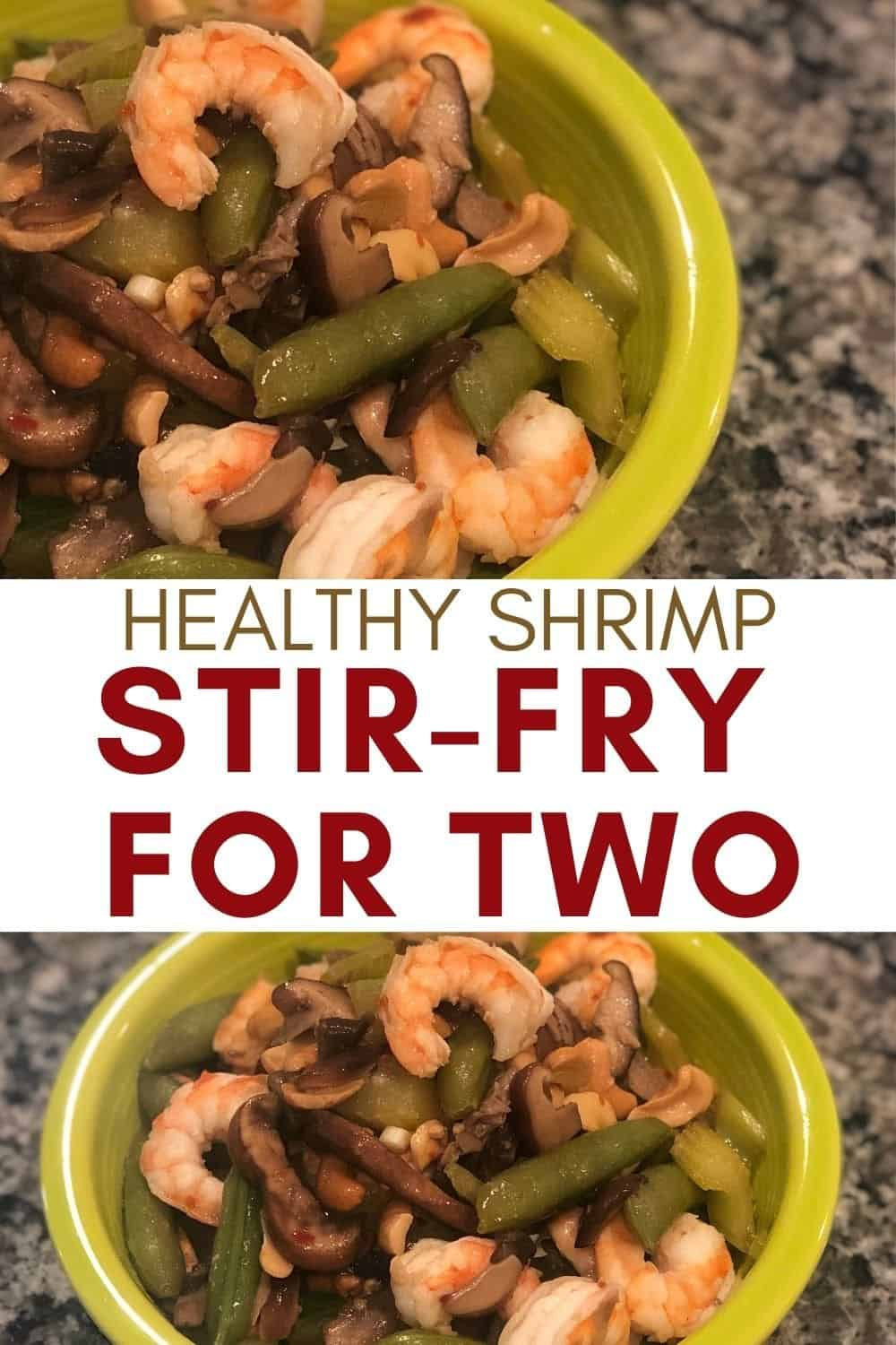 healthy shrimp stir fry for two in 2 bowls