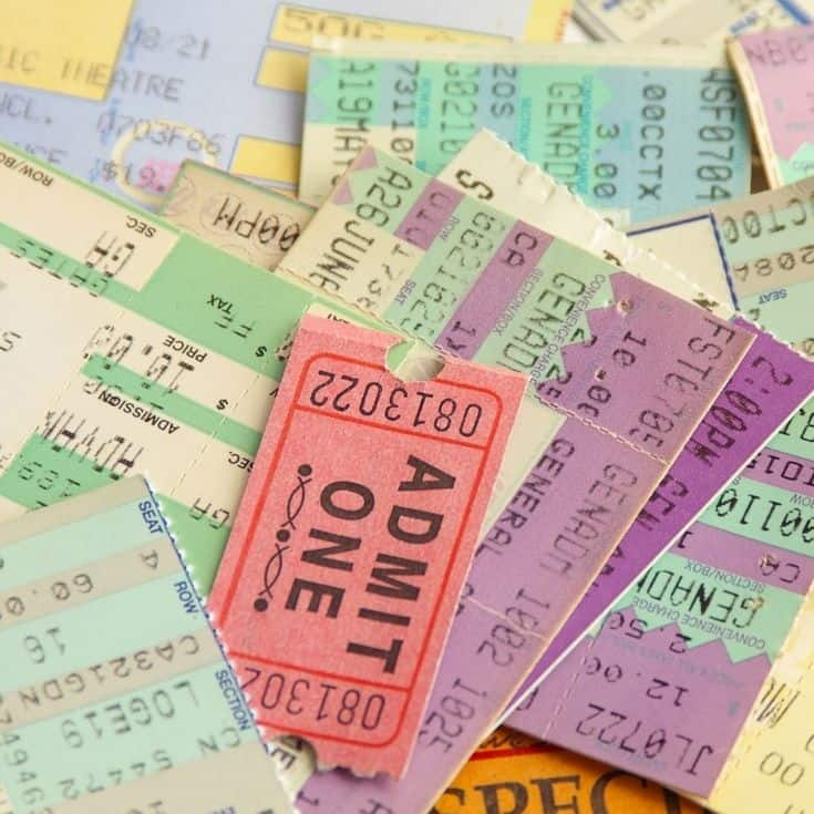 lots of ticket stubs