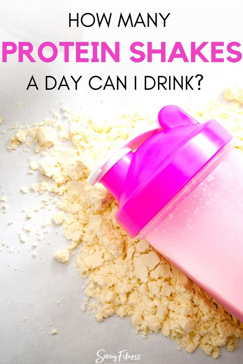 "protein shaker cup and powder with the text overlay ""How Many Protein Shakes a Day Can I Drink?"""