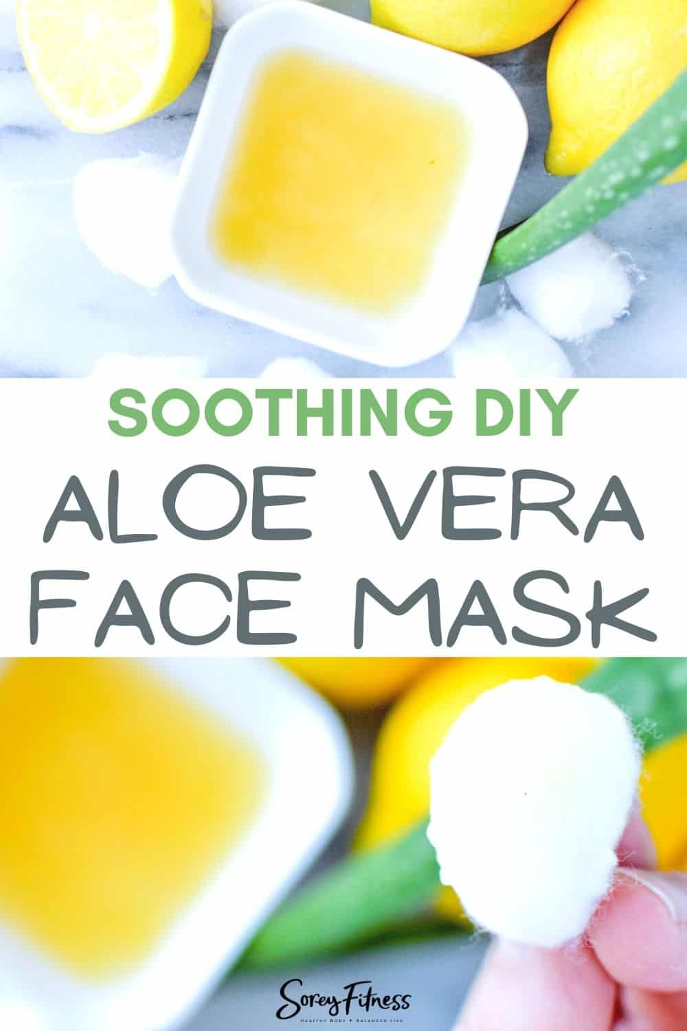 soothing DIY aloe vera face mask in a bowl with a cotton ball