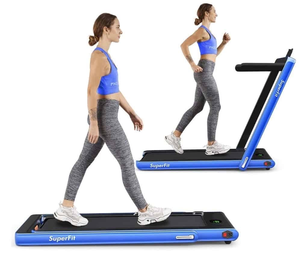 Woman on the Goplus 2-in-1 Folding Treadmill