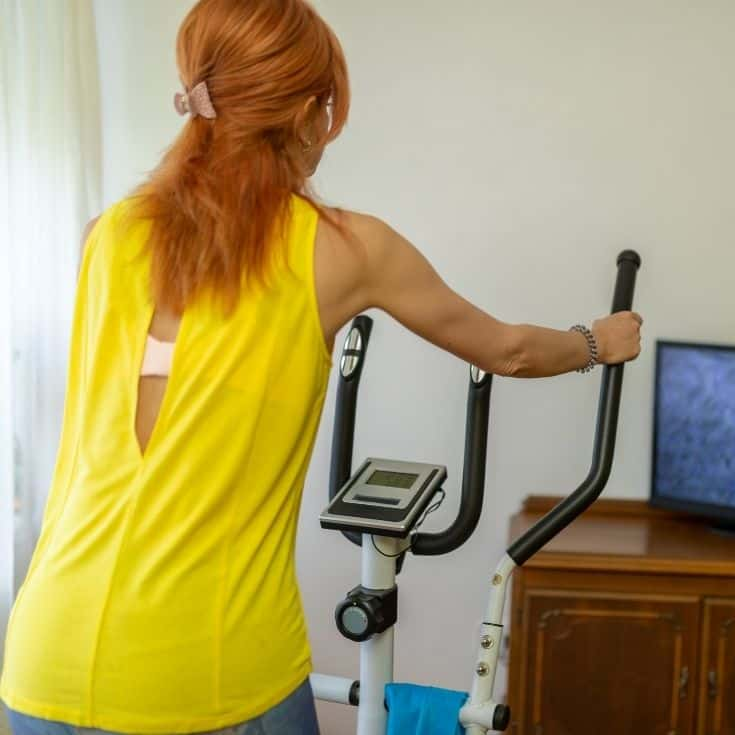 lady uses on an elliptical