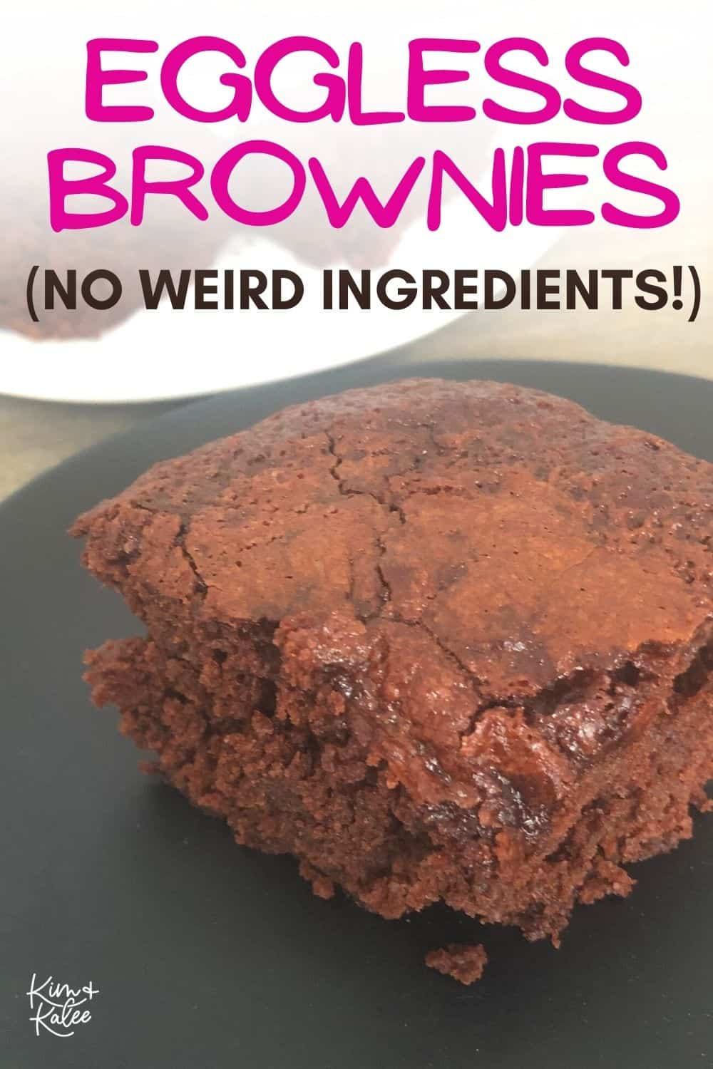 """1 brownie with the text overlay """"eggless brownies with no weird ingredients"""""""