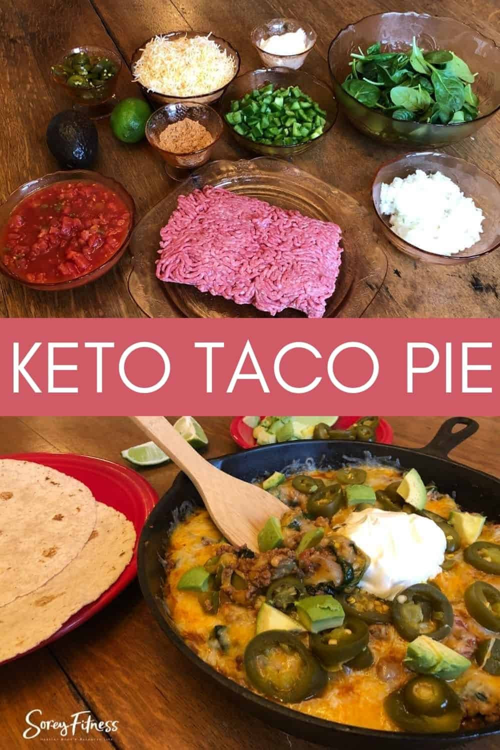 collage of the keto taco casserole ingredients and finished meal