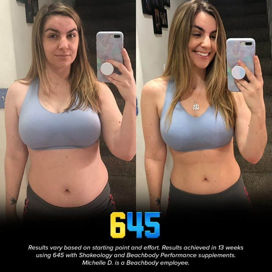 645 workout before and after woman