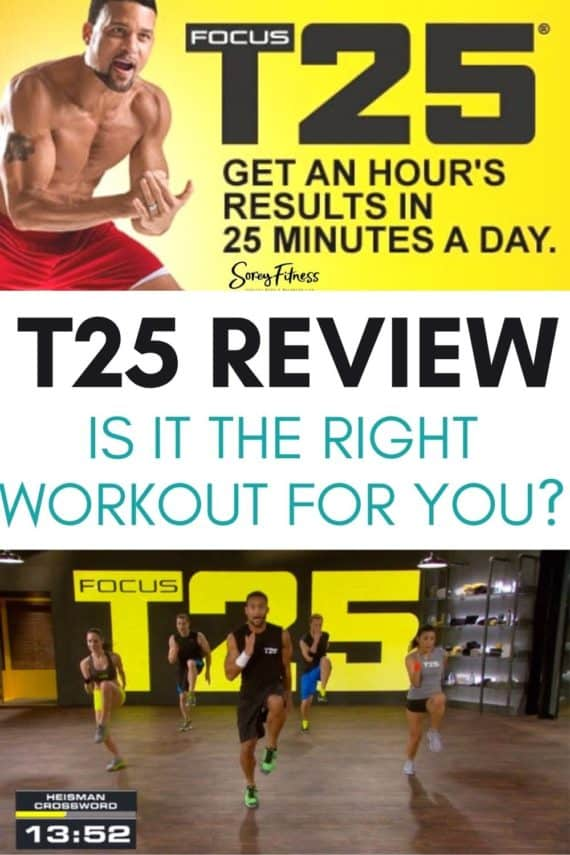 Shaun T collage with text overlay: T25 Review Is it the right workout for you?