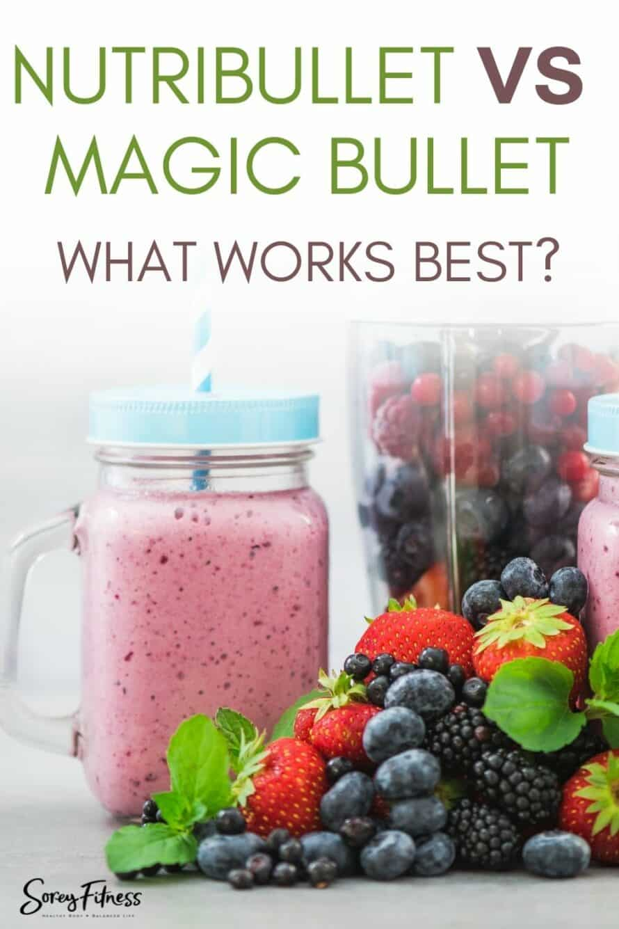 Magic Bullet vs Nutribullet with a berry smoothie in the picture