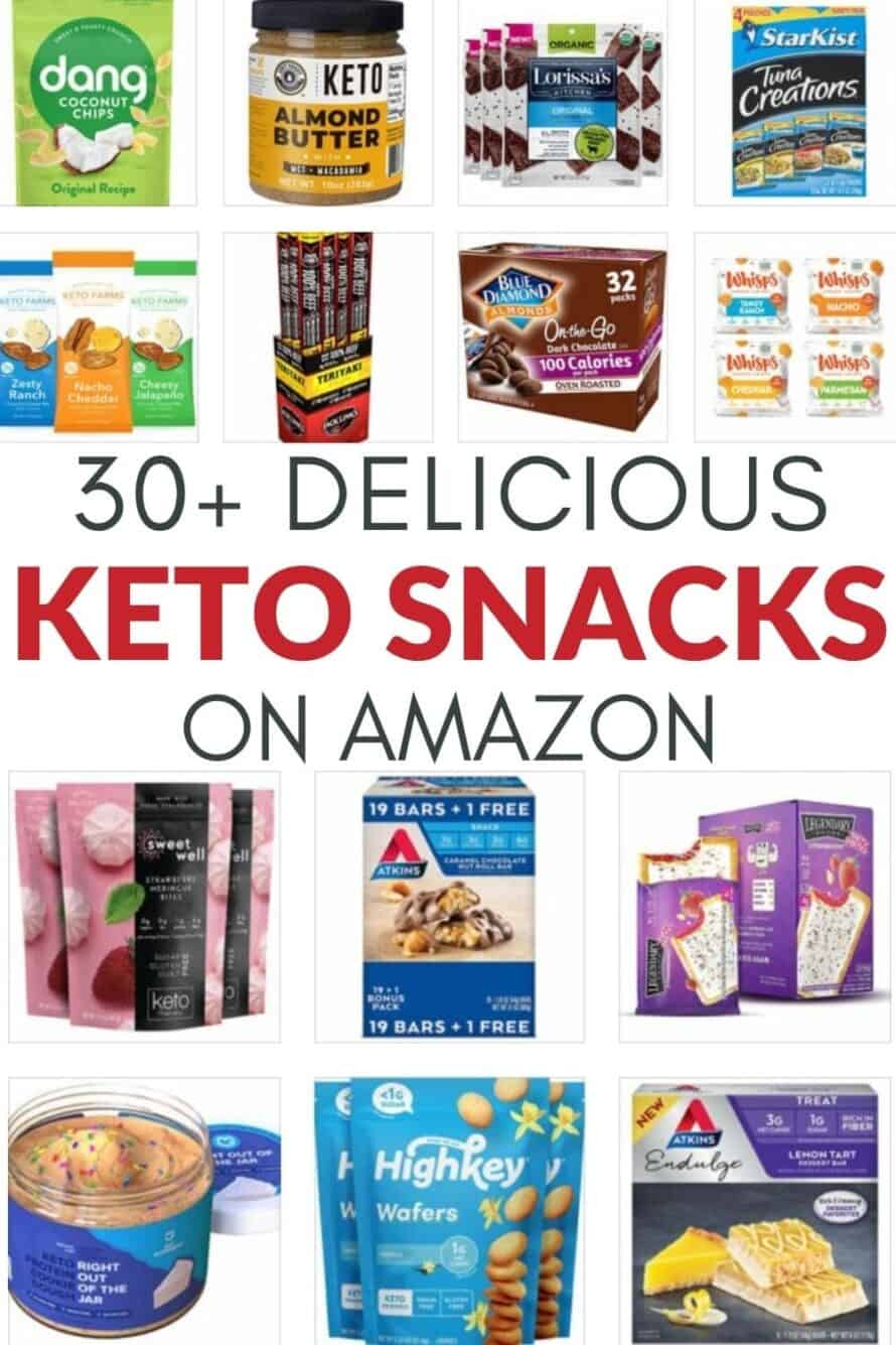 Collage of the 30+ best keto snacks on amazon
