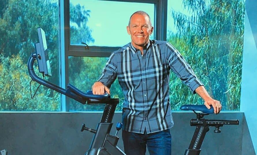 Beachbody's CEO Carl Daikeler with the MYX Bike 2.0