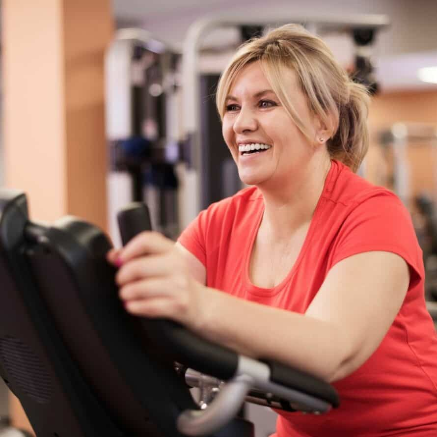 woman exercising on stair-master